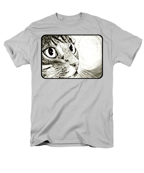 Men's T-Shirt  (Regular Fit) featuring the drawing Fairy Light Tabby Cat Drawing by Carrie Hawks