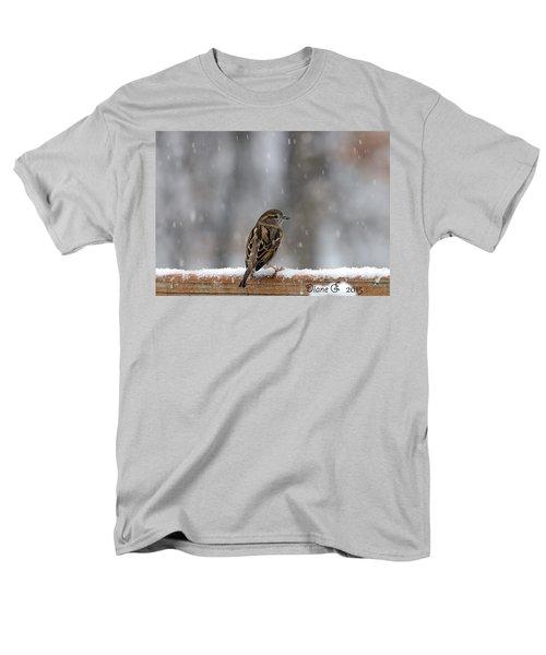 Female Sparrow In Snow Men's T-Shirt  (Regular Fit) by Diane Giurco