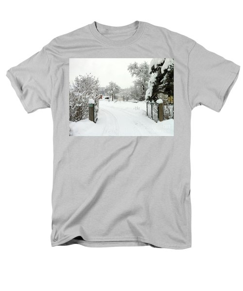 Men's T-Shirt  (Regular Fit) featuring the photograph Fence And  Gate In Winter by Wilhelm Hufnagl