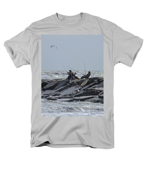 Fishermen With Seagull Men's T-Shirt  (Regular Fit) by Allen Sheffield