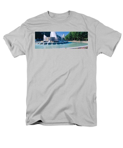 Fountain And Us Capitol Building Men's T-Shirt  (Regular Fit) by Panoramic Images