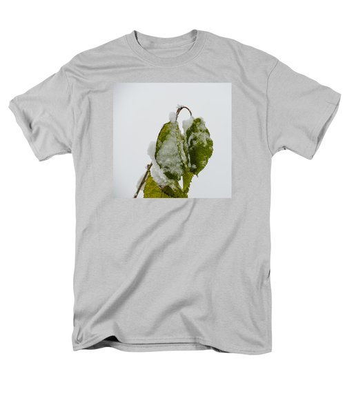 Men's T-Shirt  (Regular Fit) featuring the photograph Frosty Green Leaves by Deborah Smolinske