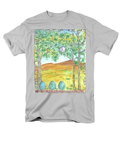 Men's T-Shirt  (Regular Fit) featuring the drawing Full Moon And Robin Eggs by Cathie Richardson
