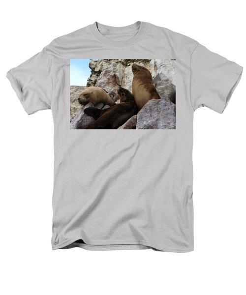 Fur Seals On The Ballestas Islands, Peru Men's T-Shirt  (Regular Fit) by Aidan Moran