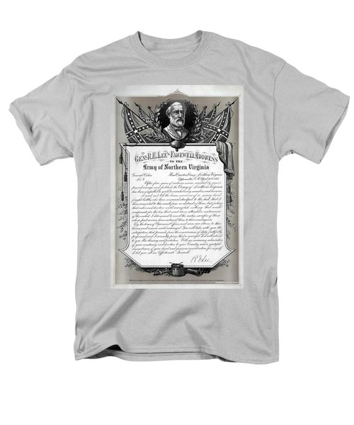 Men's T-Shirt  (Regular Fit) featuring the mixed media General Robert E. Lee's Farewell Address To Confederate Soldiers by Daniel Hagerman