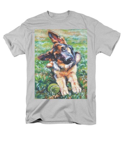 German Shepherd Pup With Ball Men's T-Shirt  (Regular Fit) by Lee Ann Shepard
