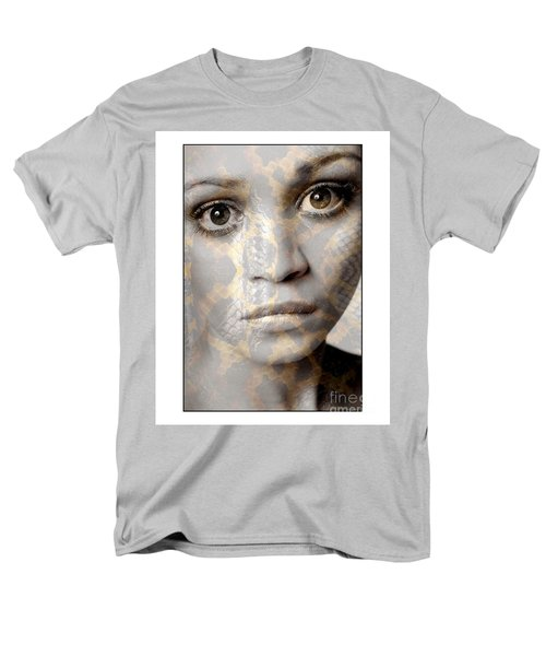 Girls Face With Snake Skin Texture Men's T-Shirt  (Regular Fit) by Michael Edwards