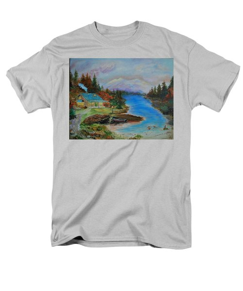 Men's T-Shirt  (Regular Fit) featuring the painting Grandmas Cabin by Leslie Allen