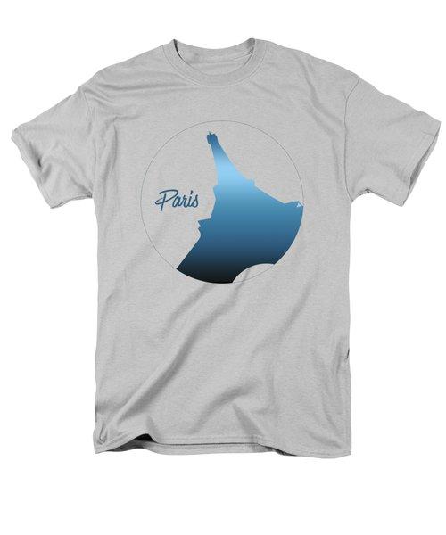 Graphic Style Paris Eiffel Tower Blue Men's T-Shirt  (Regular Fit)