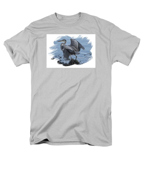 Men's T-Shirt  (Regular Fit) featuring the photograph Great Blue Heron On Cape Cod Canal 2 by Constantine Gregory