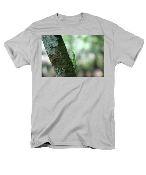 Green Anole Climbing Men's T-Shirt  (Regular Fit) by Christopher L Thomley