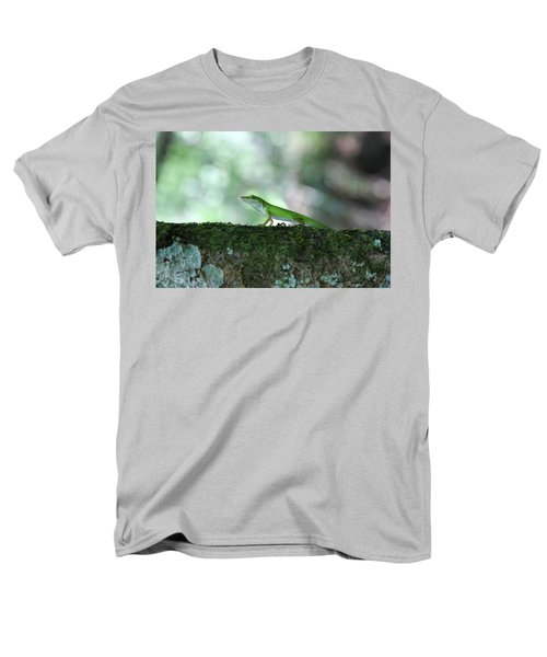 Green Anole Posing Men's T-Shirt  (Regular Fit) by Christopher L Thomley