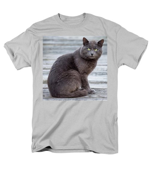 Green Eye Stare Cat Square Men's T-Shirt  (Regular Fit) by Terry DeLuco