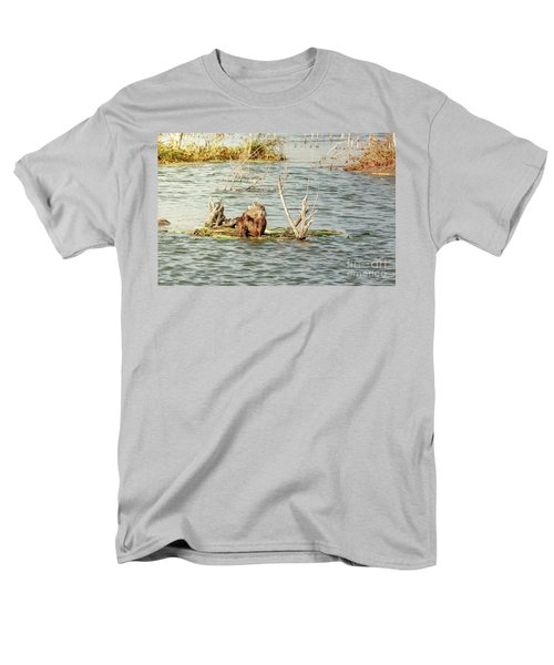 Men's T-Shirt  (Regular Fit) featuring the photograph Grinning Nutria On Reeds by Robert Frederick