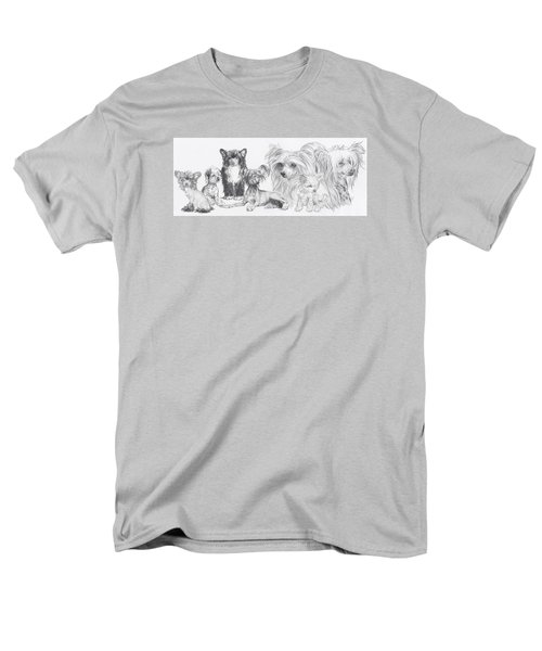 Men's T-Shirt  (Regular Fit) featuring the drawing Growing Up Chinese Crested And Powderpuff by Barbara Keith
