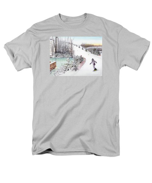 Men's T-Shirt  (Regular Fit) featuring the painting Gunnar Slope And The Ducky Pond by Albert Puskaric