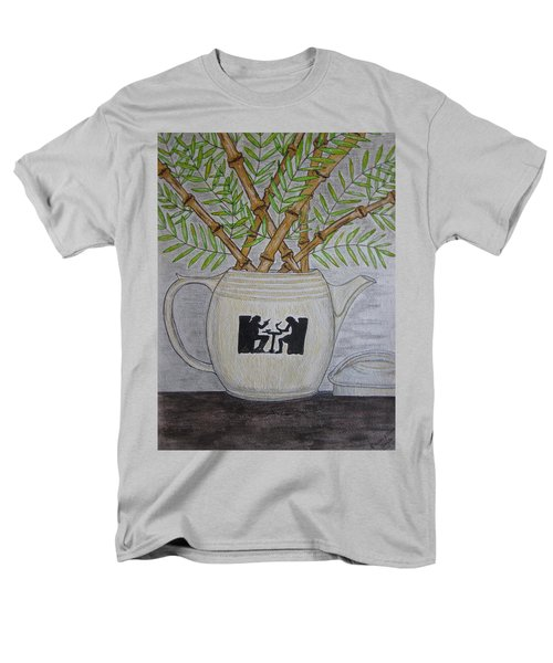 Men's T-Shirt  (Regular Fit) featuring the painting Hall China Silhouette Pitcher With Bamboo by Kathy Marrs Chandler