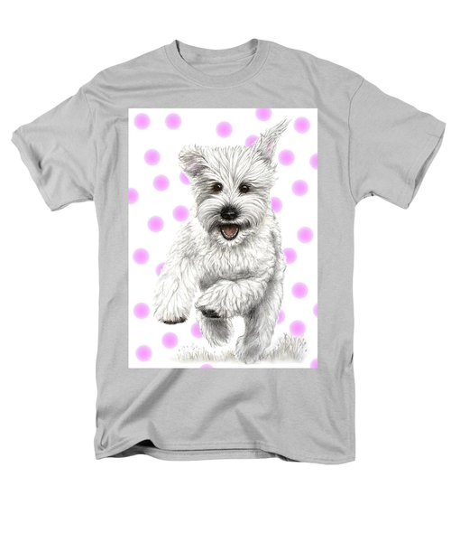 Men's T-Shirt  (Regular Fit) featuring the drawing Happy Pink Polka Dots Doggy  by Heidi Kriel