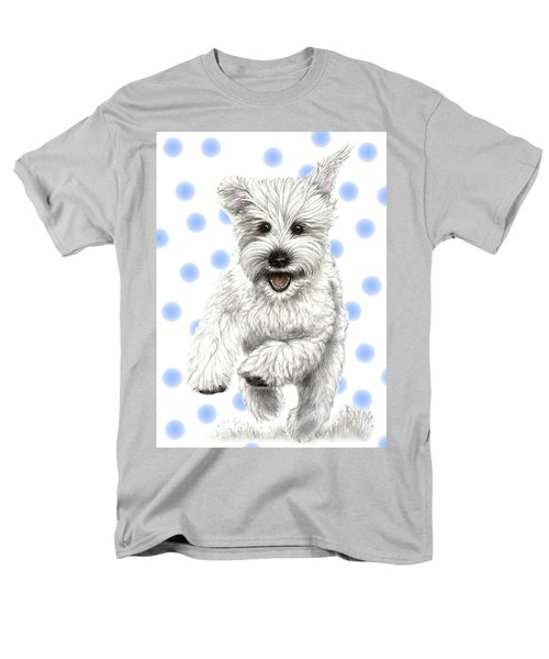 Men's T-Shirt  (Regular Fit) featuring the drawing Happy Blue Polka Dots Doggy by Heidi Kriel