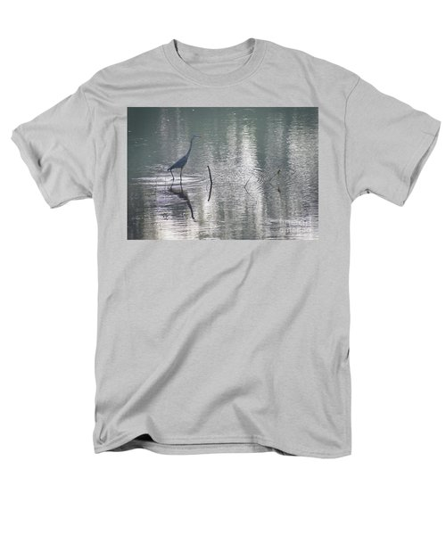 Men's T-Shirt  (Regular Fit) featuring the photograph Heron In Pastel Waters by Skip Willits