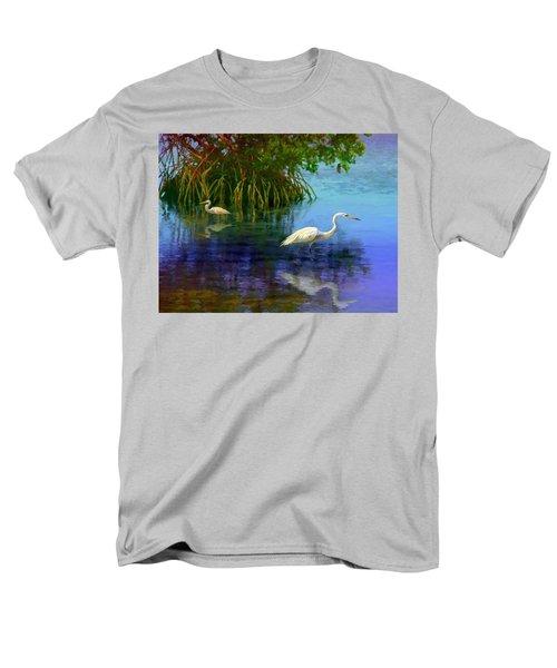 Men's T-Shirt  (Regular Fit) featuring the painting Herons In Mangroves by David  Van Hulst