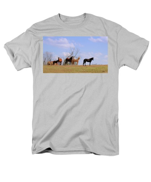 Men's T-Shirt  (Regular Fit) featuring the photograph Horses On The Hill by Bonnie Willis