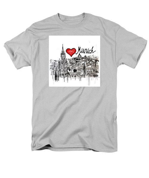 Men's T-Shirt  (Regular Fit) featuring the drawing I Love Munich by Sladjana Lazarevic