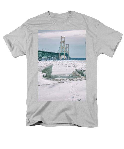 Men's T-Shirt  (Regular Fit) featuring the photograph Icy Day Mackinac Bridge  by John McGraw