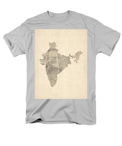 India Map, Old Sheet Music Map Of India Men's T-Shirt  (Regular Fit) by Michael Tompsett