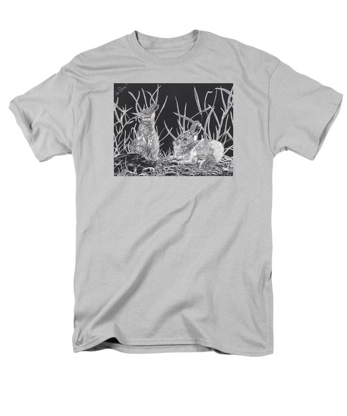 Men's T-Shirt  (Regular Fit) featuring the mixed media Indian Ink Rabbits by Kevin F Heuman