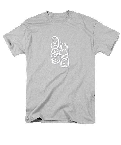 Interlocking - White On Soft Gray Owl - Pattern Men's T-Shirt  (Regular Fit) by Menega Sabidussi