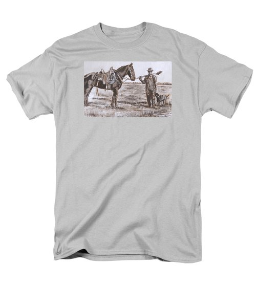 Men's T-Shirt  (Regular Fit) featuring the painting Irrigating The Hay Meadows Historical Vignette by Dawn Senior-Trask
