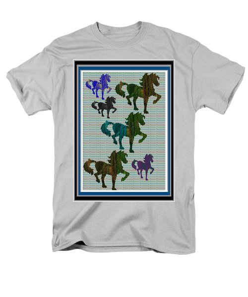 Kids Fun Gallery Horse Prancing Art Made Of Jungle Green Wild Colors Men's T-Shirt  (Regular Fit) by Navin Joshi