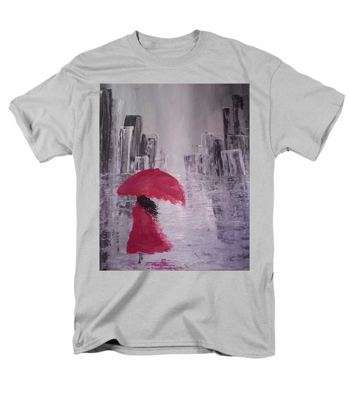 Laidy In The City Abstract Art Men's T-Shirt  (Regular Fit) by Sheila Mcdonald