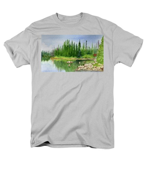 Men's T-Shirt  (Regular Fit) featuring the painting Lake View 1-2 by Yoshiko Mishina
