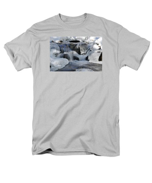 Men's T-Shirt  (Regular Fit) featuring the photograph Winter Waterfall In Maine by Glenn Gordon