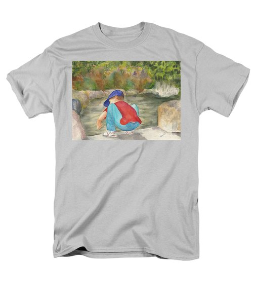 Men's T-Shirt  (Regular Fit) featuring the painting Little Boy At Japanese Garden by Vicki  Housel