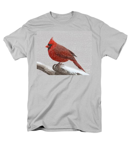 Male Cardinal In Snow Men's T-Shirt  (Regular Fit) by Rand Herron