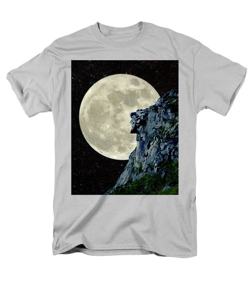 Men's T-Shirt  (Regular Fit) featuring the photograph Man In The Moon Meets Old Man Of The Mountain Vertical by Larry Landolfi