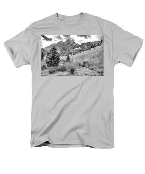 Men's T-Shirt  (Regular Fit) featuring the photograph Maroon Bells Monochrome by Eric Glaser