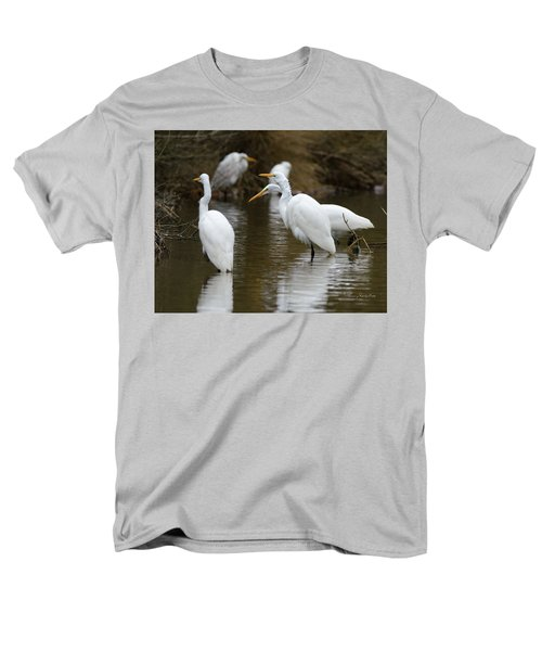 Men's T-Shirt  (Regular Fit) featuring the photograph Meeting Of The Egrets by George Randy Bass