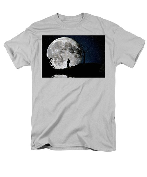 Men's T-Shirt  (Regular Fit) featuring the photograph Moonlight Fishing Under The Supermoon At Night by Justin Kelefas
