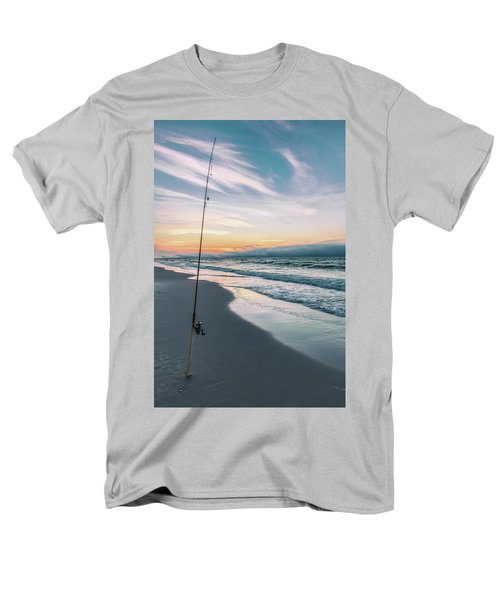 Men's T-Shirt  (Regular Fit) featuring the photograph Morning Fishing At The Beach  by John McGraw
