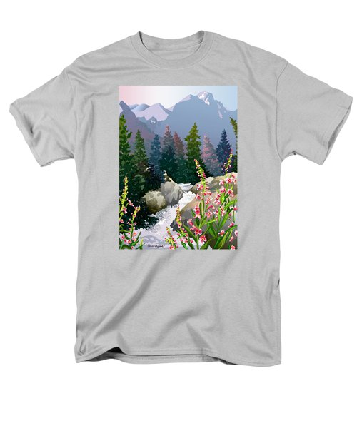 Men's T-Shirt  (Regular Fit) featuring the digital art Mountain Stream by Anne Gifford