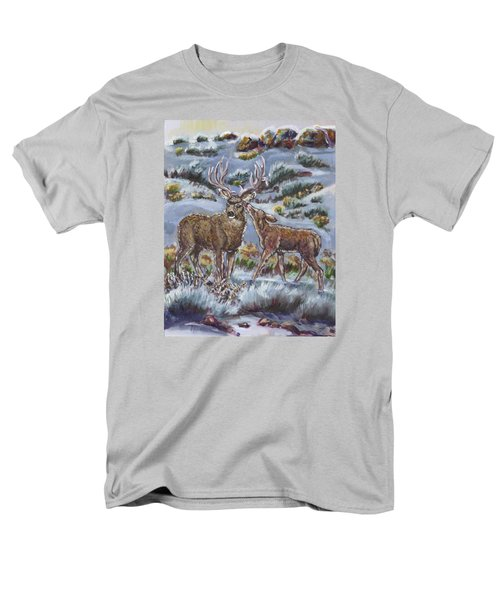 Men's T-Shirt  (Regular Fit) featuring the painting Mule Deer Lovers From River Mural by Dawn Senior-Trask