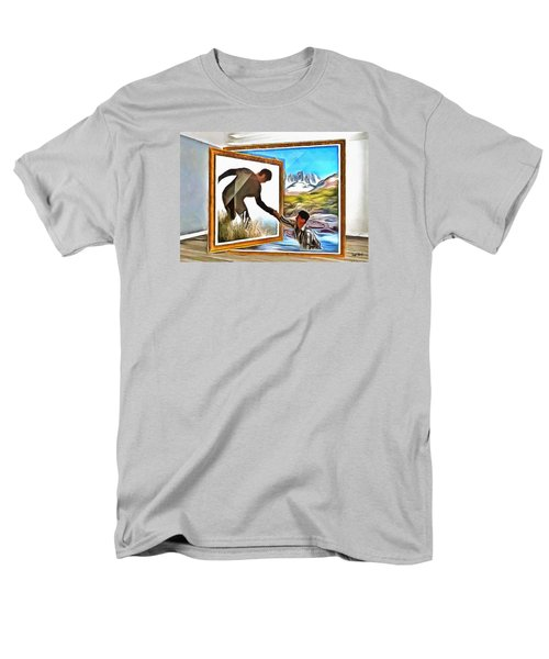Men's T-Shirt  (Regular Fit) featuring the painting Night At The Art Gallery - One To Another by Wayne Pascall