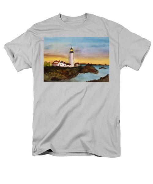 Men's T-Shirt  (Regular Fit) featuring the painting North Truro Light House Cape Cod by Donna Walsh