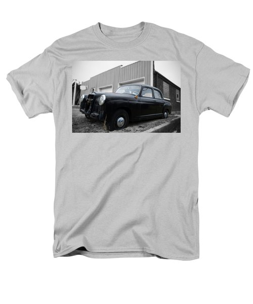 Men's T-Shirt  (Regular Fit) featuring the photograph Old Mercedes Sitting At The Shop - Color On Black And White by Janice Adomeit