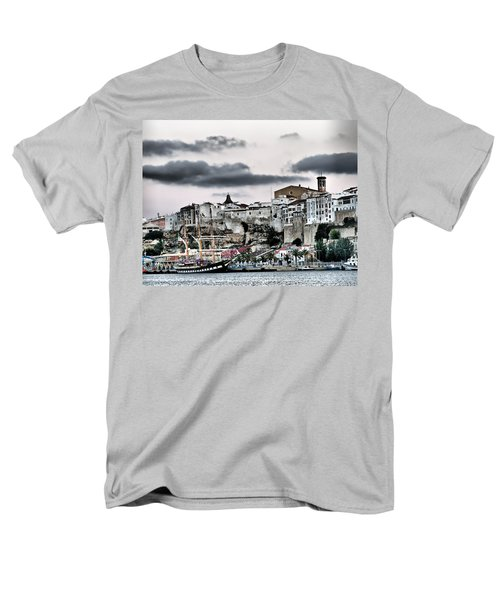 Old Port Mahon And Italian Sail Training Vessel Palinuro Hdr Men's T-Shirt  (Regular Fit) by Pedro Cardona