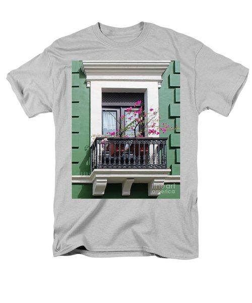 Pink Flowers On Balcony Men's T-Shirt  (Regular Fit) by Cheryl Del Toro